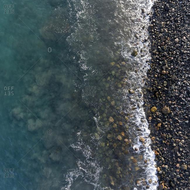 Bird's eye view of rocky coast on the Atlantic Ocean