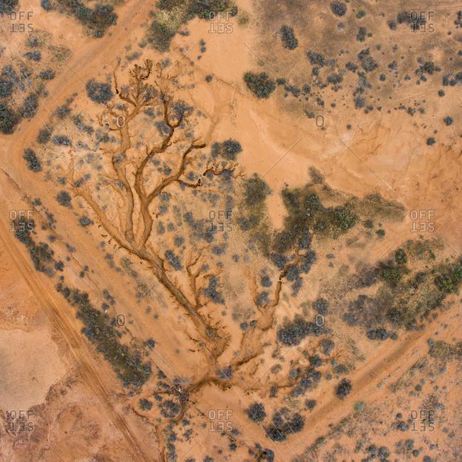 Bird's eye view of a natural desert landscape