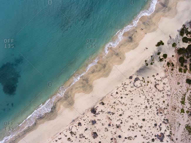 Bird's eye view of sandy beach on the Atlantic Ocean