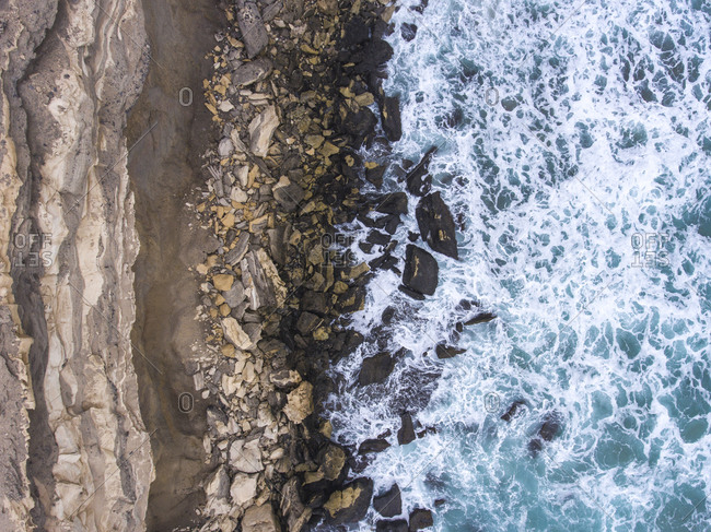 Aerial view of a rocky shore on the Atlantic Ocean