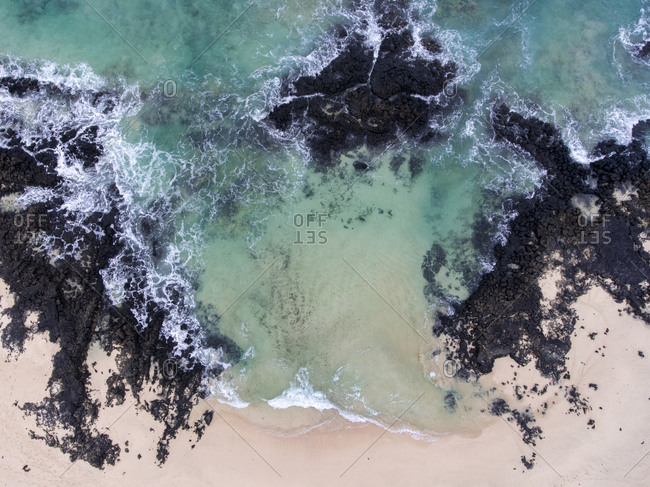 Abstract view of the Atlantic Ocean coast from above