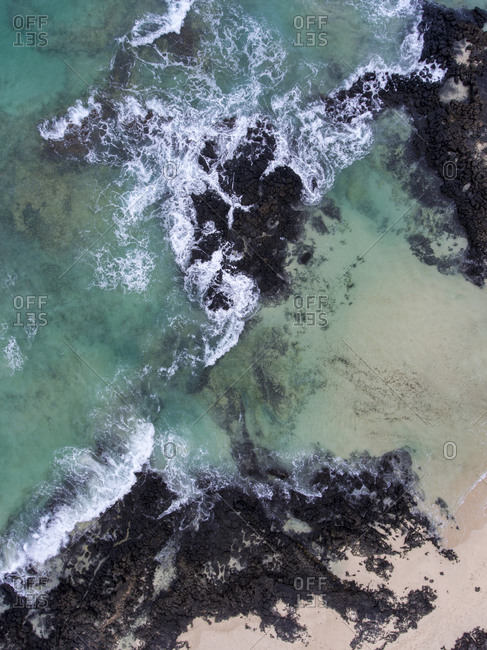 Abstract view of the Atlantic Ocean coast, aerial view
