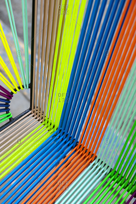 Close up of colorful chair