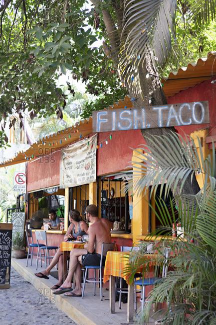 Sayulita, Mexico - June 17, 2018: Fish Taco restaurant in Sayulita, Mexico