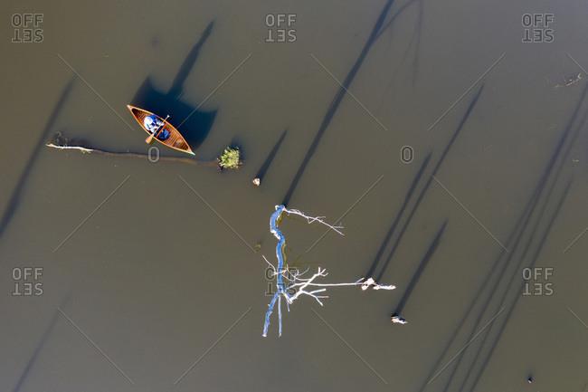 Birds-eye view of canoeist paddling at the Brandon Swamp and Otter Creek in Brandon, Vermont.