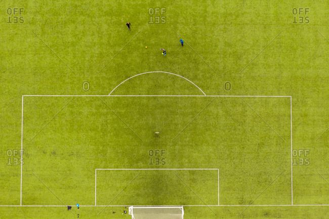 Drone view of socially distanced soccer game