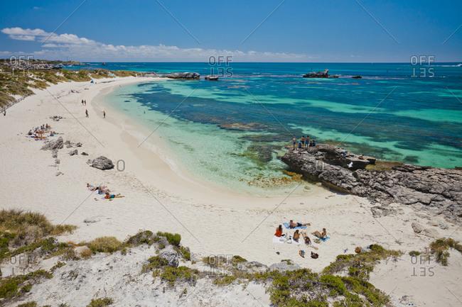 Australia, Western Australia, Perth - November 11, 2016: Beach with tourists, Western Australia, Australia