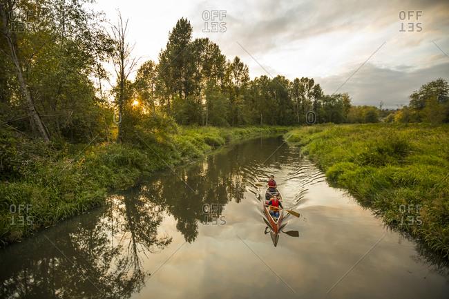 Canoeing in Still Creek, Burnaby,  British Columbia.