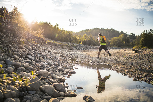 Trail running near the Chilliwack River, British Columbia, Canada.