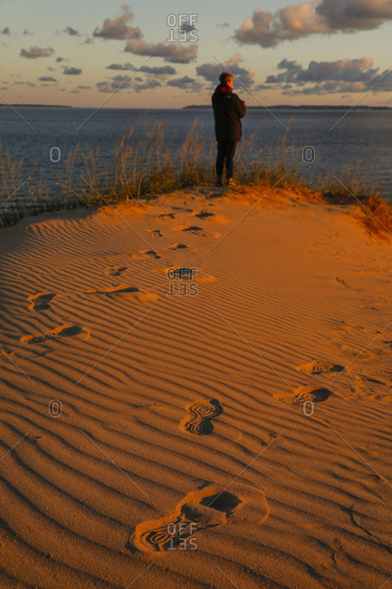 Lone hiker at Sleeping Bear Dunes National Lakeshore, Empire, Michigan, USA