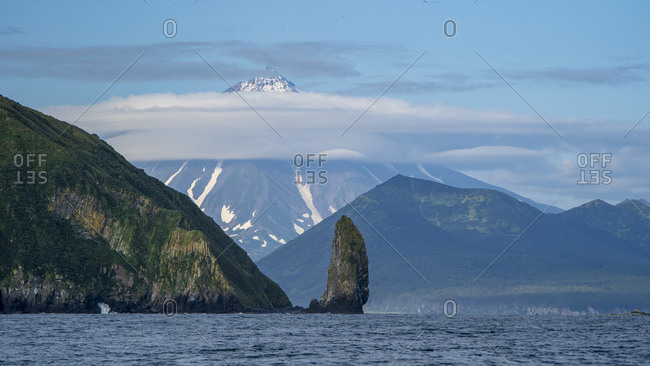 Volcano across Bering Sea, Kamchatka Peninsula, Russia