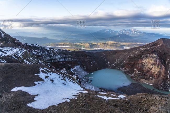 Lake in volcanic crater, Mutnovsky, Kamchatka Peninsula, Russia