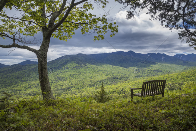 Adrian's Acres bench viewpoint over Johns Brook Valley and Adirondack High Peaks, Keene Valley, New York State, USA