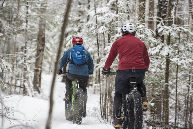 Winter fat-tire biking in the outdoors
