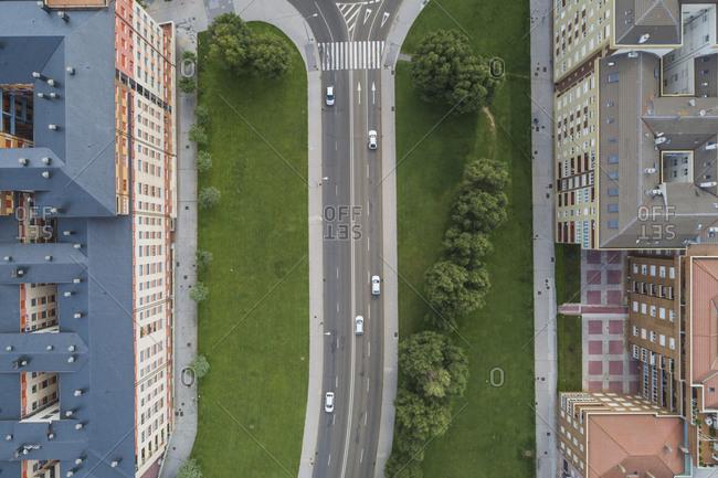 Traffic on city street, Leon, Castilla y Leon, Spain