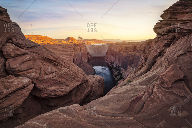 The Colorado River and glen Canyon Dam at morning from Overlook. Page. Arizona