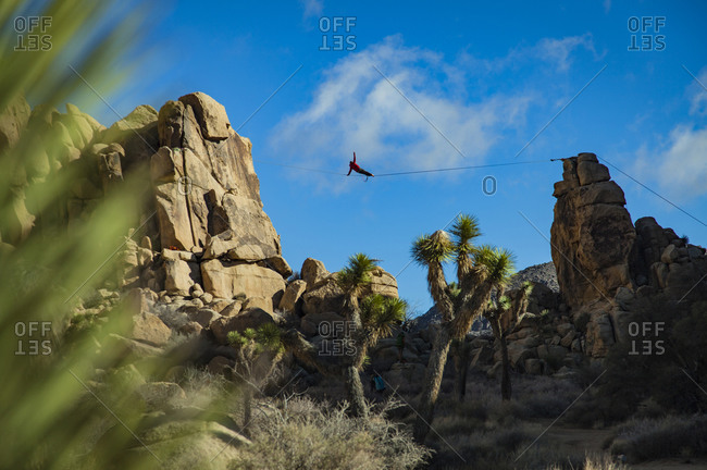 Highlining and camping in Joshua Tree National Park in California.