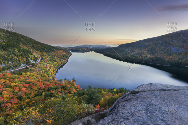 Jordan Pond seen from South Bubble Mountain, Acadia National Park, Maine, USA