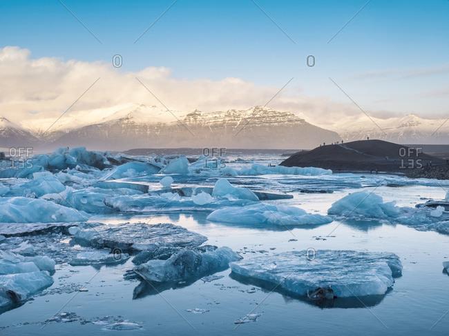 Beautiful shot  of Jokuls Glacier Lagoon