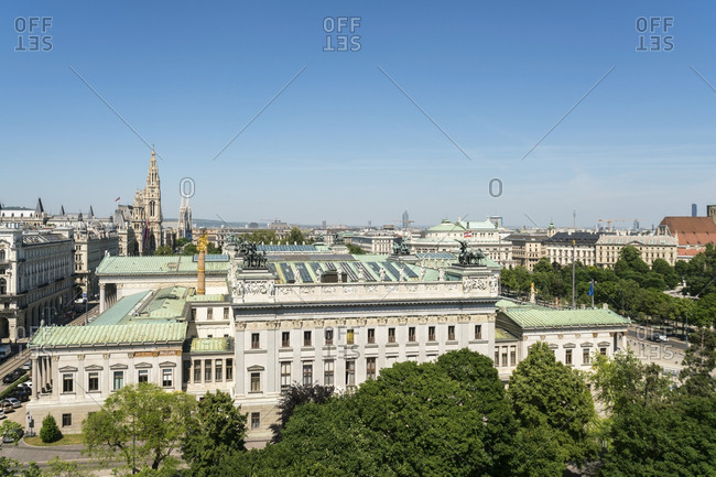 The austrian parliament view from the supreme court of justice building in Vienna or the oberlandsgericht