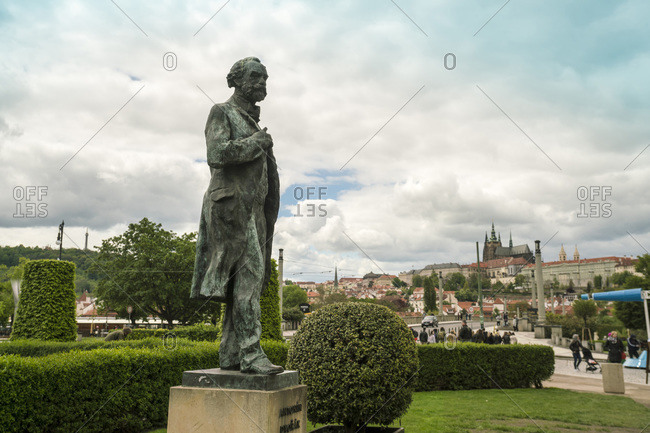 Czech Republic, Praha, Prague - May 9, 2017: Antonin Dvorak statue, Prague in front of the Rudolfinum prague concert hall