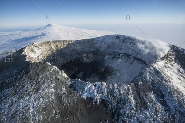 The summit crater of Mount Erebus, Antarctica.