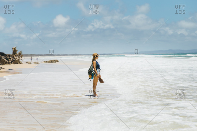 A girl on the huge Australian beach