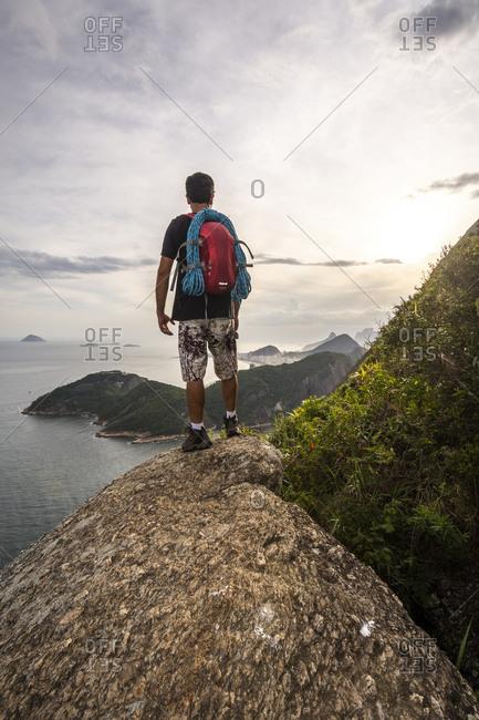 Hiker at Sugarloaf Mountain, Rio de Janeiro, Brazil