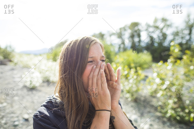 Young woman shouting and feeling emotinos