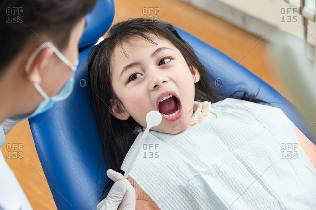 Cute little girl at the dentist