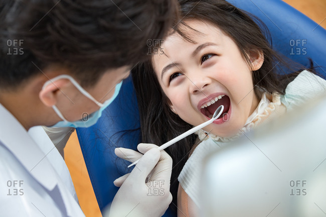 The cute little girl at the dentist