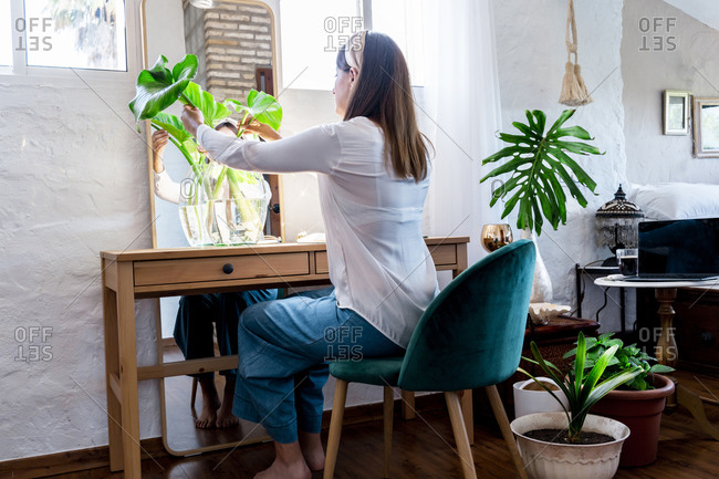 Woman arranging plants in vase while sitting on chair at home