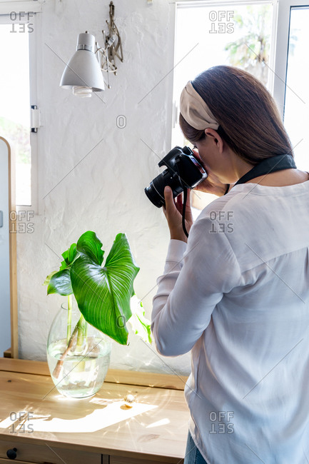 Woman photographing plant in glass vase on desk at home