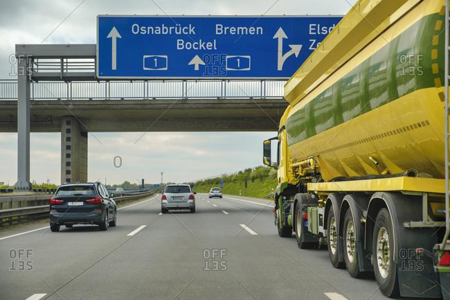 Special transport traveling on motorway