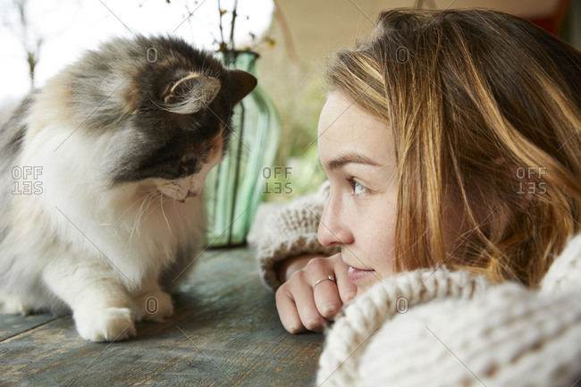 Young woman looking at Norwegian forest cat on wooden table outdoors