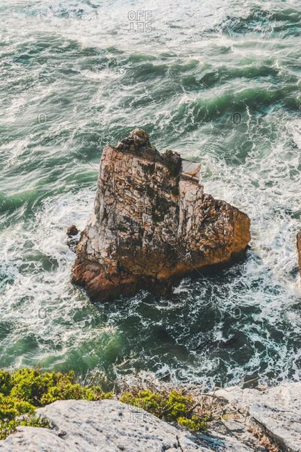 High angle view of rock formation in sea- Praia da Ursa- Lisboa- Portugal