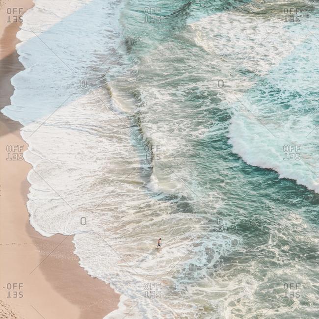 Drone view of person enjoying at beach- Praia da Ursa- Lisboa- Portugal