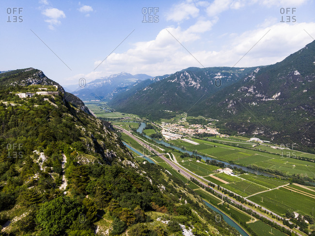 Italy- Veneto- Verona- Scenic view of A22 Motorway stretching across Adige Valley in spring