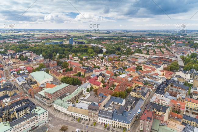 Sweden- Scania- Lund- Aerial view of historic old town with clear line of horizon in background