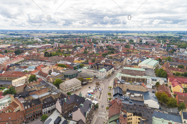 September 2, 2018: Sweden- Scania- Lund- Aerial view of historic old town with clear line of horizon in background