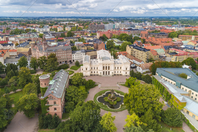 Sweden- Scania- Lund- Aerial view of Lund University and surrounding old town buildings