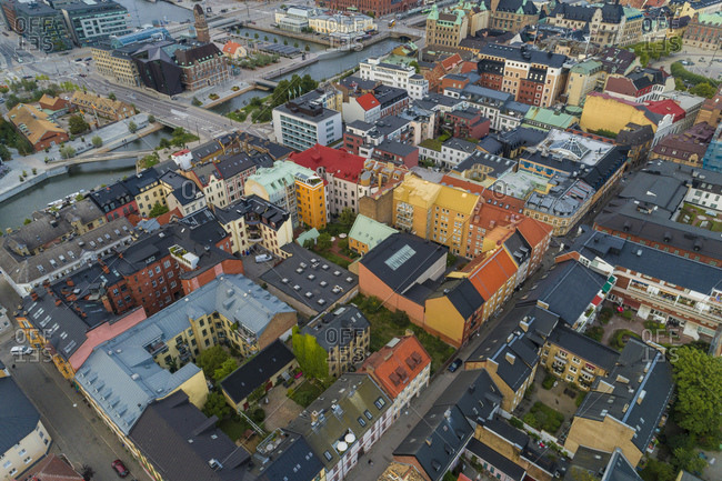 Sweden- Scania- Malmo- Aerial view of old town residential district