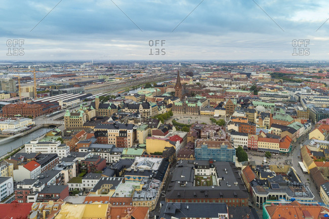 Sweden- Scania- Malmo- Aerial view of Slussen neighborhood
