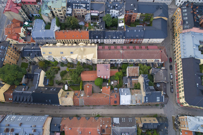 Sweden- Scania- Malmo- Aerial view of roofs of old town buildings