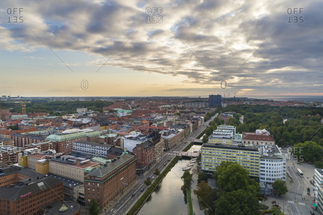Sweden- Scania- Malmo- Aerial view of Sodra Forstadskanalen river canal at dusk