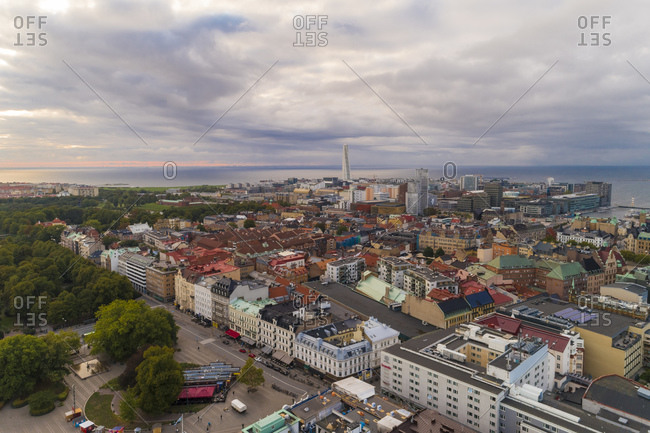 September 2, 2018: Sweden- Scania- Malmo- Aerial view of residential district with Turning Torso and Oresund in background