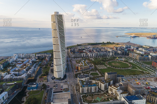 September 3, 2018: Sweden- Scania- Malmo- Aerial view of Turning Torso skyscraper