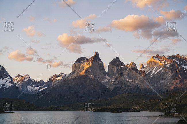 Chile- Lakeshore in Torres Del Paine National Park with Cuernos Del Paine in background