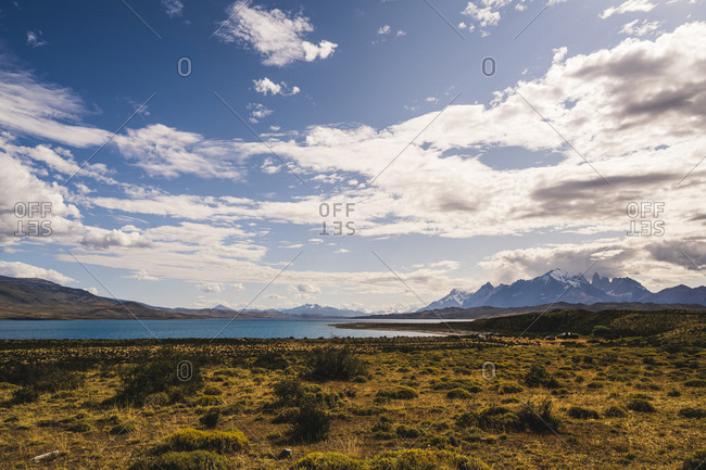 Argentina- Scenic view of clouds over lakeshore in Patagonia