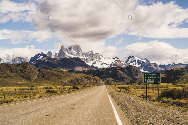 Argentina- Empty asphalt highway toward Fitz Roy mountain